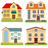 Set of four private houses on a white background. Vector illustration Royalty Free Stock Photo