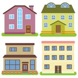 Set of four private houses on a white background. Vector illustration Stock Image