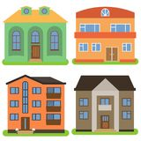 Set of four private houses on a white background Royalty Free Stock Image