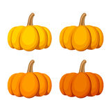 Set of four pumpkins  on a white background. Vector illustration. Royalty Free Stock Photo