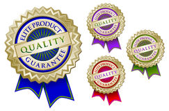Set of Four Quality Elite Product Guarantee Emblem Royalty Free Stock Photography