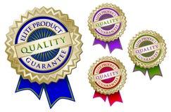 Set of Four Quality Elite Product Guarantee Emblem royalty free illustration