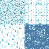 Set of four raindrops seamless patterns Stock Photos