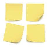 Set of four realistic blank  yellow post it notes isolated Stock Photos