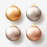 Set of Four realistic Christmas or New Year transparent Baubles, spheres or balls in different shades of metallic gold and silver. Color with golden caps, snow royalty free illustration