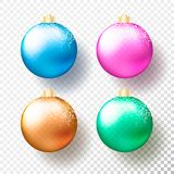 Set of Four realistic colored Christmas or New Year transparent Baubles, spheres or balls in bright colors with golden caps, snow. And shadow. Vector stock illustration