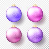 Set of Four realistic colored Christmas or New Year transparent Baubles, spheres or balls in bright purple colors with golden caps. Snowflakes and shadow stock illustration