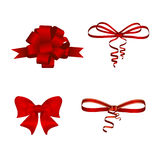 Set of four red bows for decoration. Vector Stock Photography