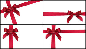 Set of four red bows Stock Photos