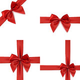 Set of four red bows and ribbons. Royalty Free Stock Photo