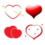 Set of four red hearts. Romantic love symbol. Of valentine day. Vector illustration Royalty Free Stock Image