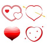 Set of four red hearts. Romantic love symbol. Of valentine day. Vector illustration Stock Photo