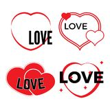 Set of four red hearts on a white background. With inscription Love. Vector illustration Stock Photos