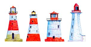 Set with four red and white cartoon lighthouses. Hand drawn watercolor illustration vector illustration