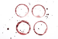 Set of four red wine stains Royalty Free Stock Photo