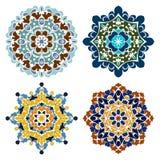 Set of four retro color mandalas Stock Photography