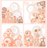 Set of four retro floral backgrounds Stock Photos