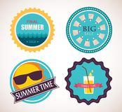 Set of four retro labels for summer sale Royalty Free Stock Images