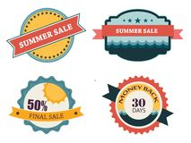 Set of four retro labels for summer sale Stock Image