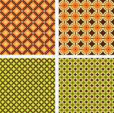 Set of four retro pattern. Interesting geometric wallpaper with orange and green circles and squares Stock Image