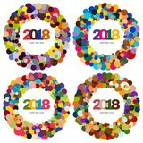 Set of four ring of multi-colored circles and the inscription Happy New Year 2018 inside. New Year and Xmas Design Element Template. Vector Illustration Royalty Free Stock Photo