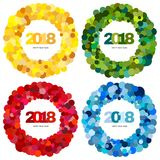 Set of four ring of multi-colored circles and the inscription Happy New Year 2018 inside. New Year and Xmas Design Element Template. Vector Illustration Stock Image