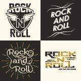 Rock n roll sewt of 4 vector illustration