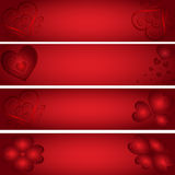 Only hearts - red banners Royalty Free Stock Photos