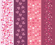 Set of four romantic hearts vertical seamless Stock Photography