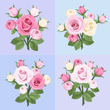 Set of four roses branches. Vector illustration. Royalty Free Stock Photo