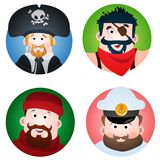 Set of four round of avatars with a picture of pirates and sailors. The pirate, sailor, fisherman and captain. Cartoon illustratio vector illustration