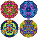 Set of four round colorful mandalas on a white background. Stock Photography