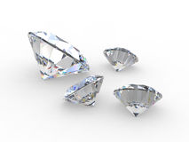 Set of four round diamond gemstones Stock Photos