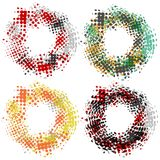 Set with four round halftone frames, grungy style, modern design elements.  stock illustration
