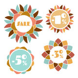 Set of four round mosaic flower sale tags Royalty Free Stock Photo