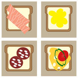 Set with four sandwiches: with fish, sausages, honey and vegetables Stock Image
