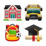 Set of Four School Icons. Set of four colorful school icons.  on white background. Clipping paths included in JPG file Royalty Free Stock Photography