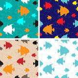 Set of four Sea Fishes vector seamless backgrounds Stock Images