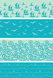 Set of four sea horizontal seamless borders Royalty Free Stock Photography