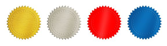 Gold, silver, red and blue coins or medals stock photos