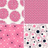 Set of four seamless abstract floral pattern Royalty Free Stock Images
