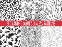 Set of four seamless abstract hand-drawn pattern Stock Photos