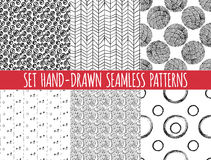 Set of four seamless abstract hand-drawn pattern Stock Photo