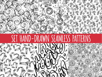 Set of four seamless abstract hand-drawn pattern Royalty Free Stock Photo