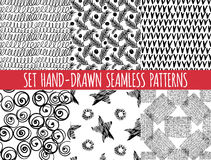 Set of four seamless abstract hand-drawn pattern Royalty Free Stock Images