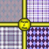 Set of four seamless argyle & tartan plaid patterns in purple & pink. Royalty Free Stock Photography
