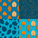 Set of four seamless autumn patterns in orange and blue colour s Stock Photo