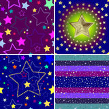 Set from four seamless backgrounds. With stars (vector vector illustration