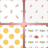 Set of four seamless backgrounds. Ice cream, cake, cracker and candy Royalty Free Stock Images