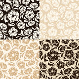 Set of four seamless beige and brown floral patterns. Vector illustration. Vector set of four seamless beige and brown patterns Stock Images